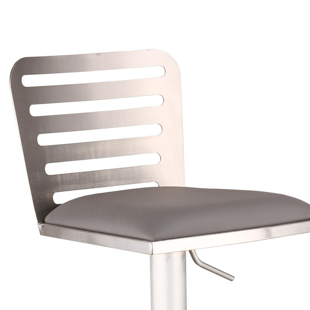 Armen Living Delmar Adjustable Brushed Stainless Steel Barstool in Gray Faux Leather. Picture 2