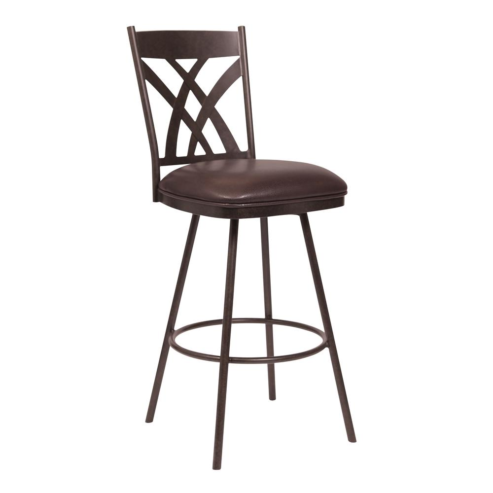 """26"""" Counter Height Barstool in Auburn Bay- Brown Faux Leather. Picture 1"""