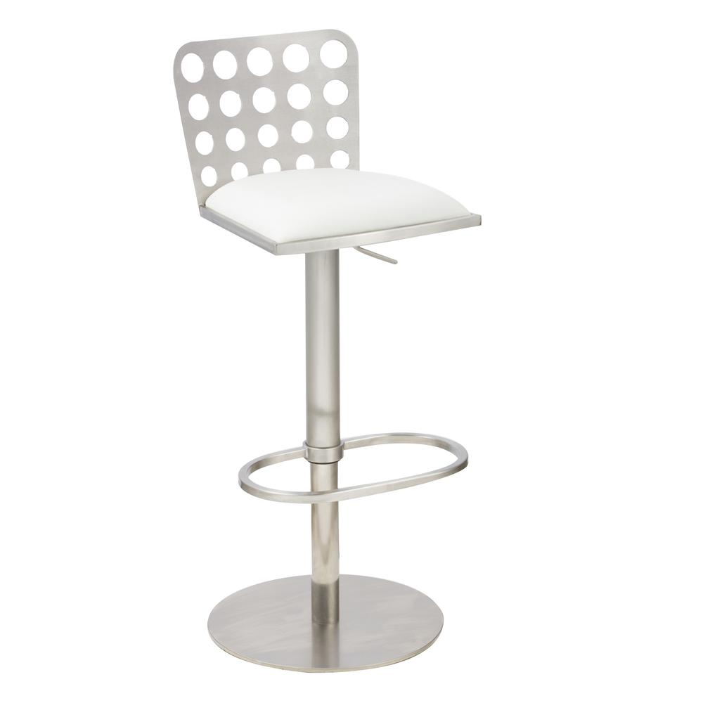 Dune Contemporary Barstool In White and Stainless Steel. Picture 1