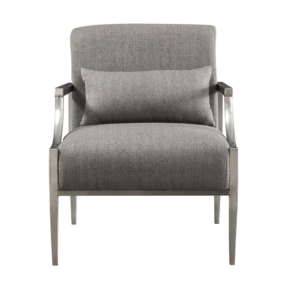Armen Living Essence Contemporary Accent Chair in Polished Stainless Steel Finish and Grey Fabric. Picture 2