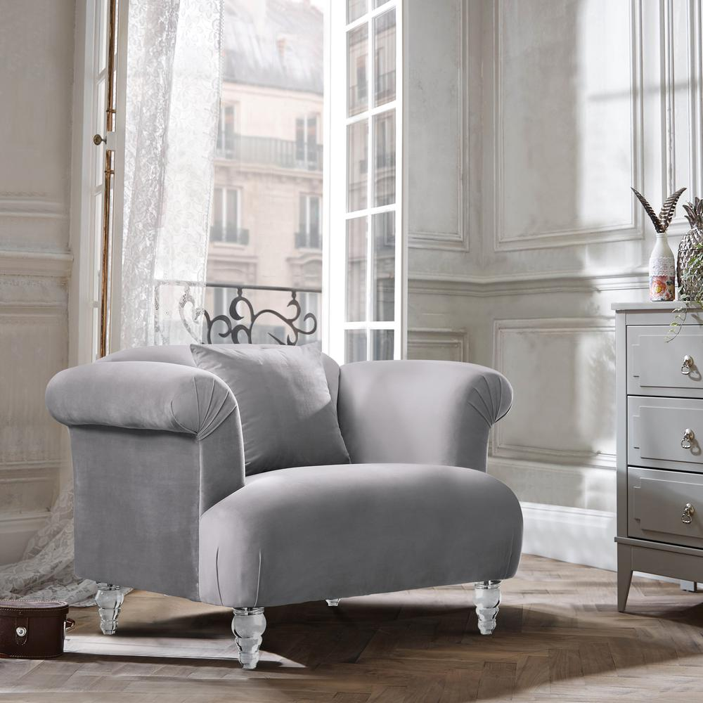 Contemporary Sofa Chair in Grey Velvet with Acrylic Legs. Picture 2