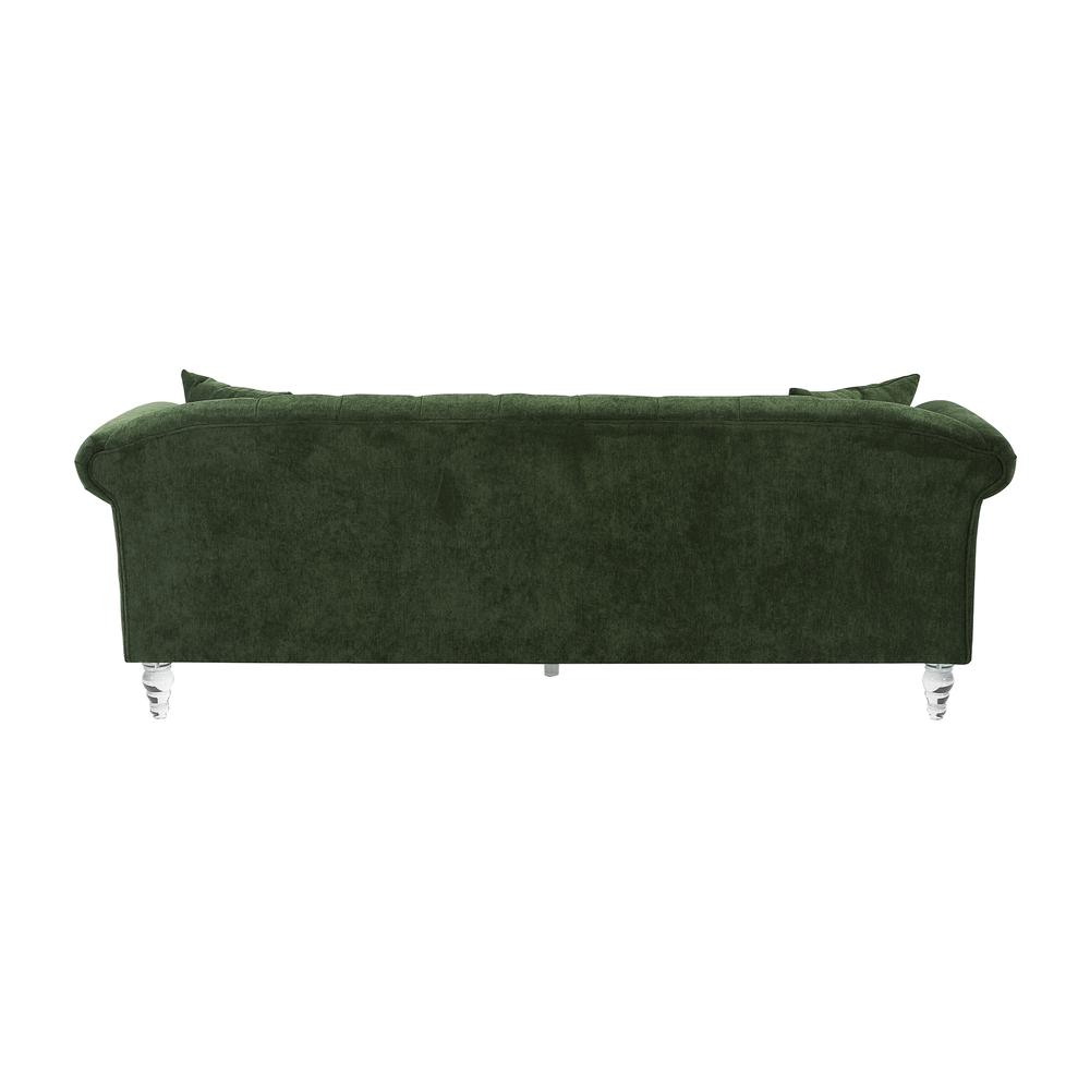 Elegance Contemporary Sofa in Green Velvet with Acrylic Legs, Clear. Picture 2