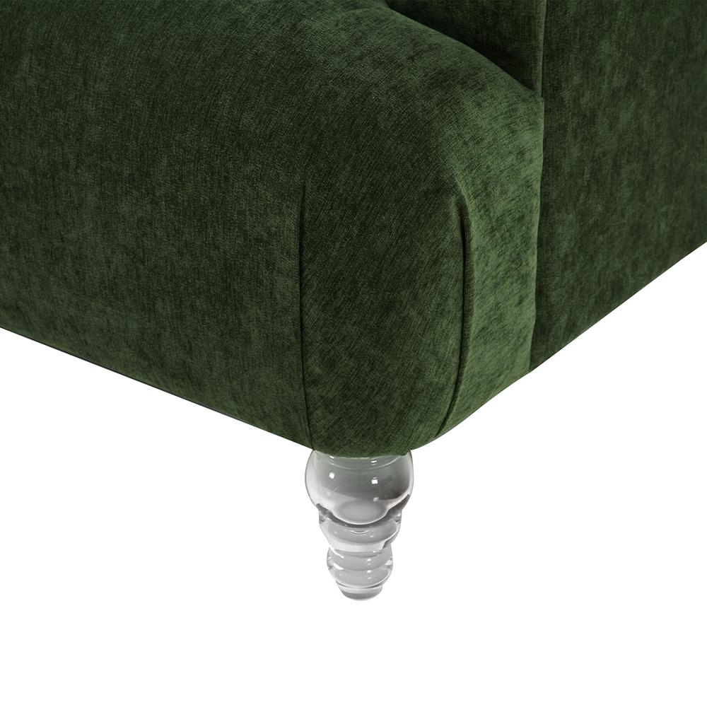 Elegance Contemporary Sofa in Green Velvet with Acrylic Legs, Clear. Picture 4