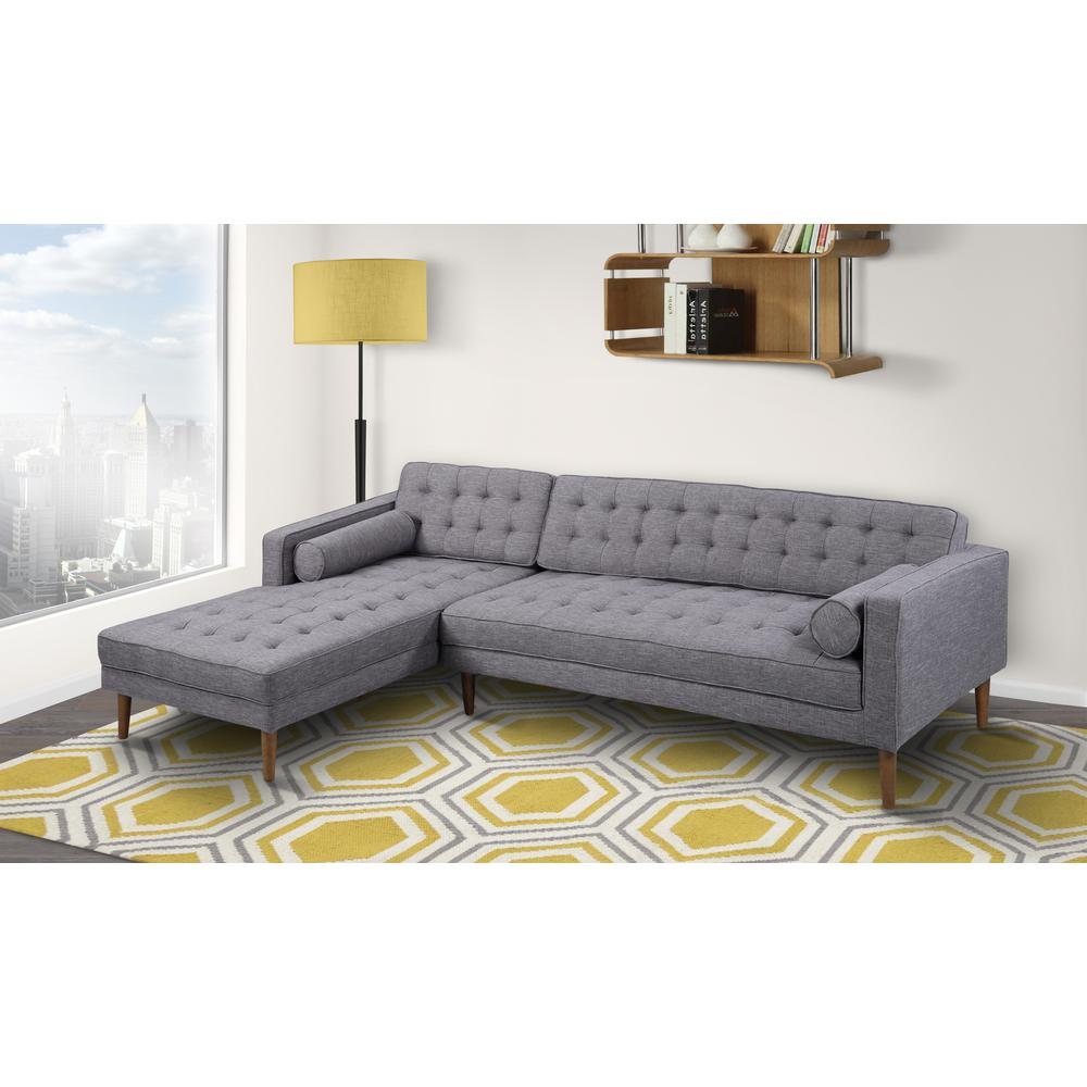 Left-Side Chaise Sectional in Dark Gray Linen and Walnut Legs. Picture 2