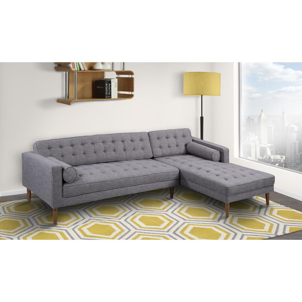 Right-Side Chaise Sectional in Dark Gray Linen and Walnut Legs. Picture 2