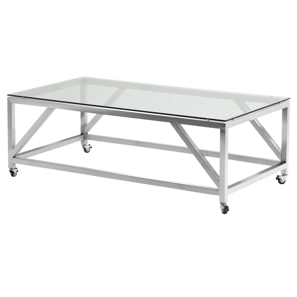 Modern Glass Coffee Table With Wheels: Armen Living Enessa Contemporary Rectangular Coffee Table