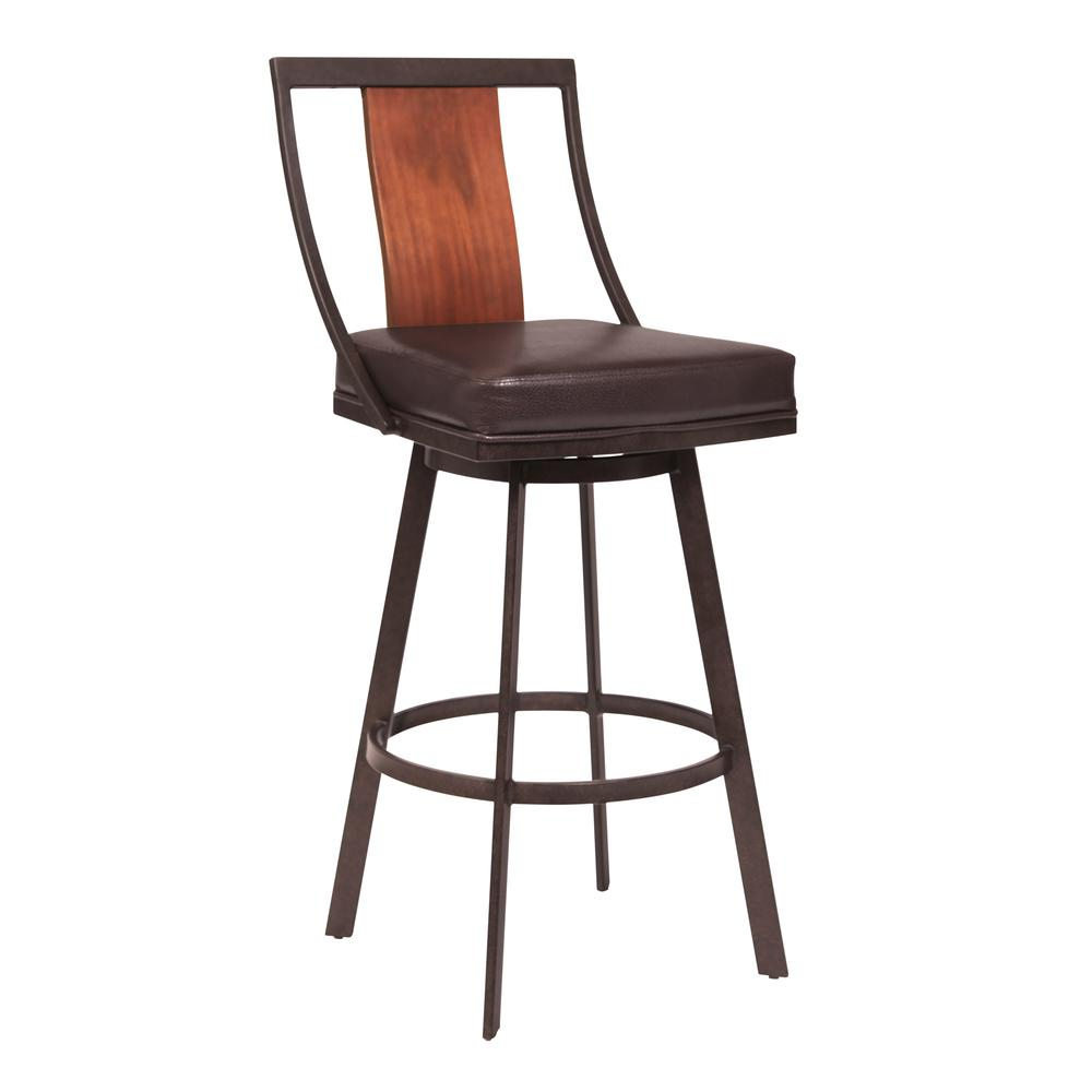 """30"""" Bar Height Barstool in Auburn Bay with Brown Faux Leather and Sedona Wood. Picture 1"""