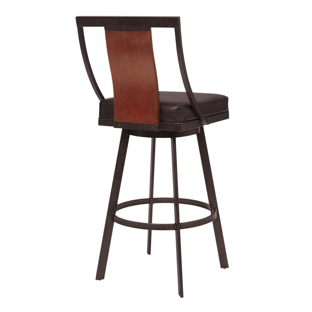 """30"""" Bar Height Barstool in Auburn Bay with Brown Faux Leather and Sedona Wood. Picture 2"""