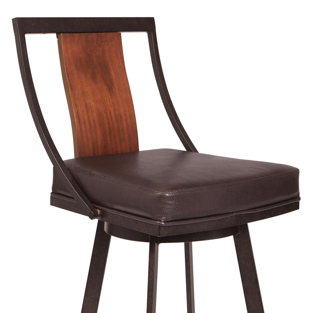 """30"""" Bar Height Barstool in Auburn Bay with Brown Faux Leather and Sedona Wood. Picture 3"""