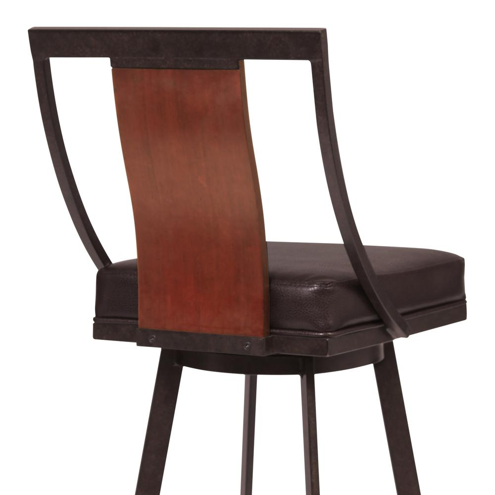 """30"""" Bar Height Barstool in Auburn Bay with Brown Faux Leather and Sedona Wood. Picture 4"""