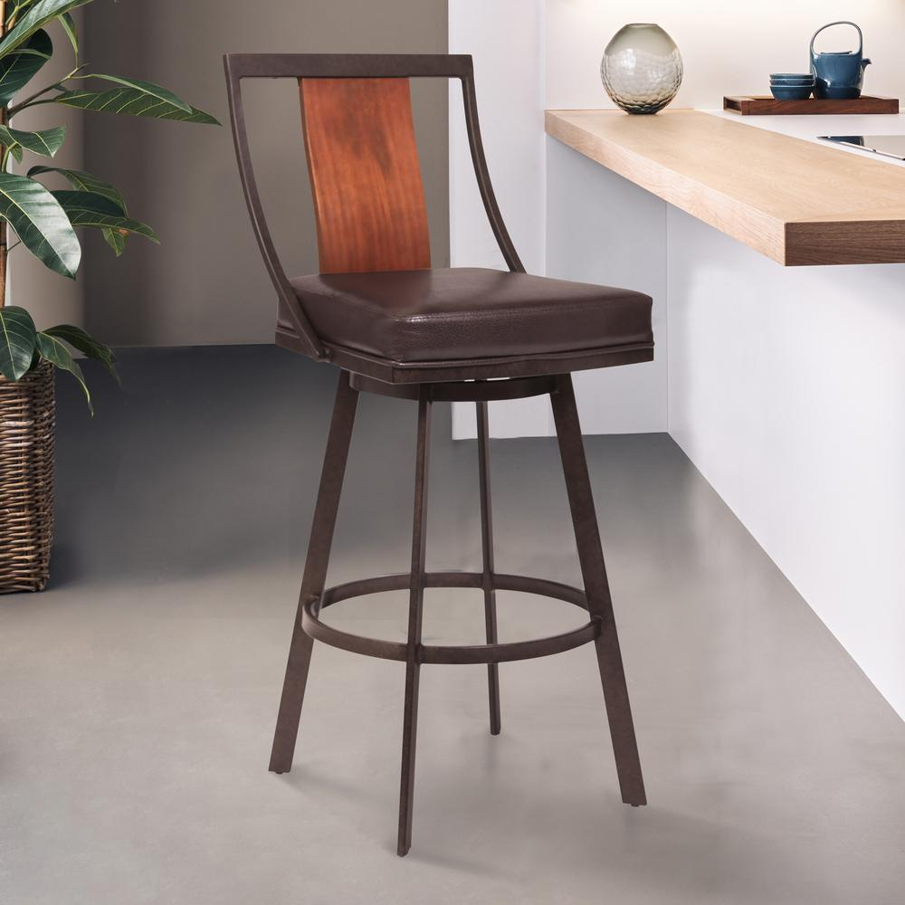 """30"""" Bar Height Barstool in Auburn Bay with Brown Faux Leather and Sedona Wood. Picture 6"""