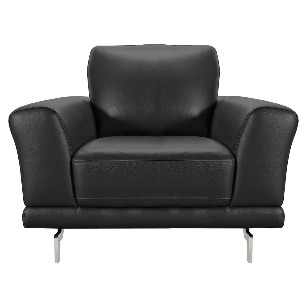 Contemporary Chair in Genuine Black Leather with Brushed Stainless Steel Legs. Picture 2