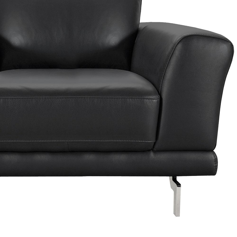 Contemporary Chair in Genuine Black Leather with Brushed Stainless Steel Legs. Picture 3