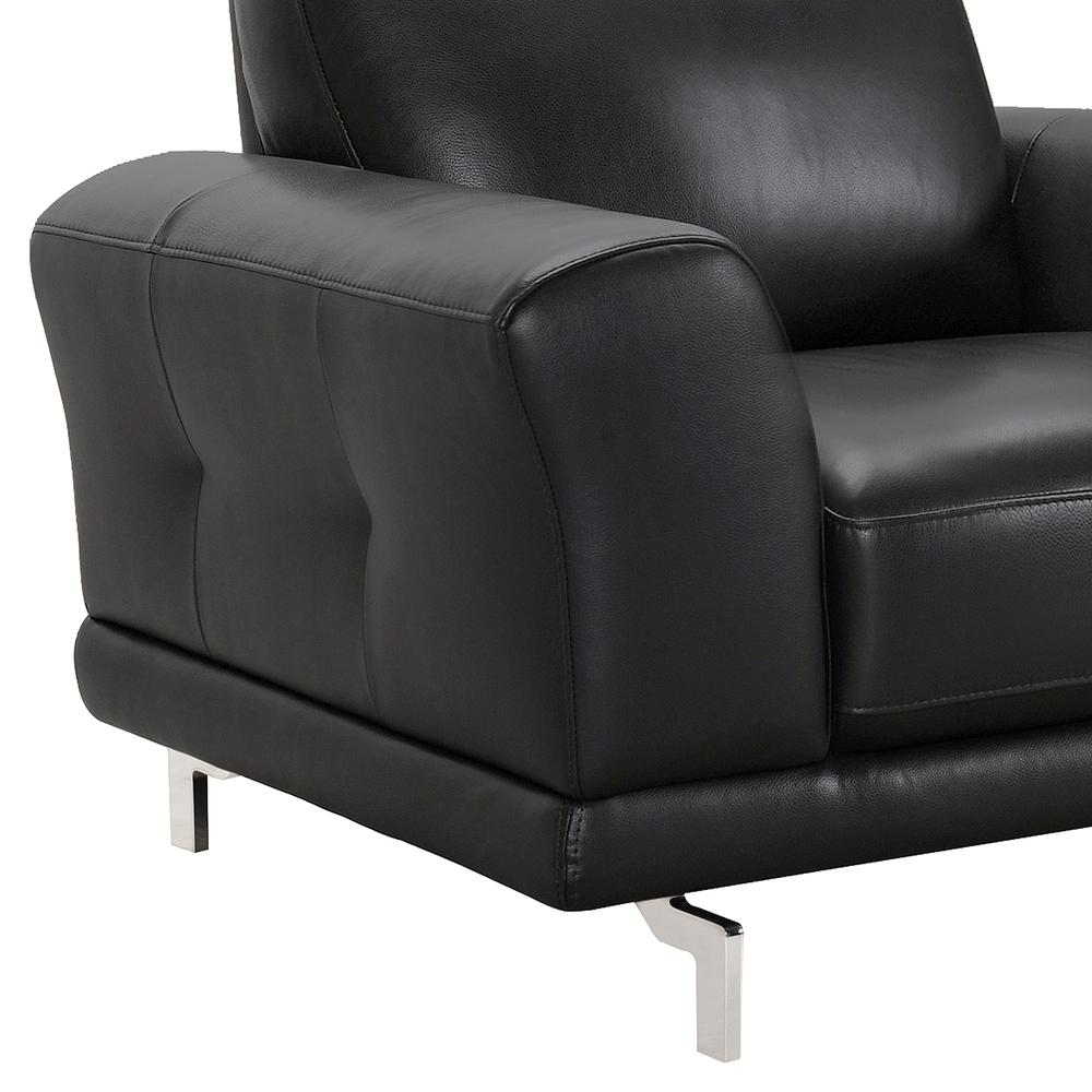 Contemporary Chair in Genuine Black Leather with Brushed Stainless Steel Legs. Picture 4
