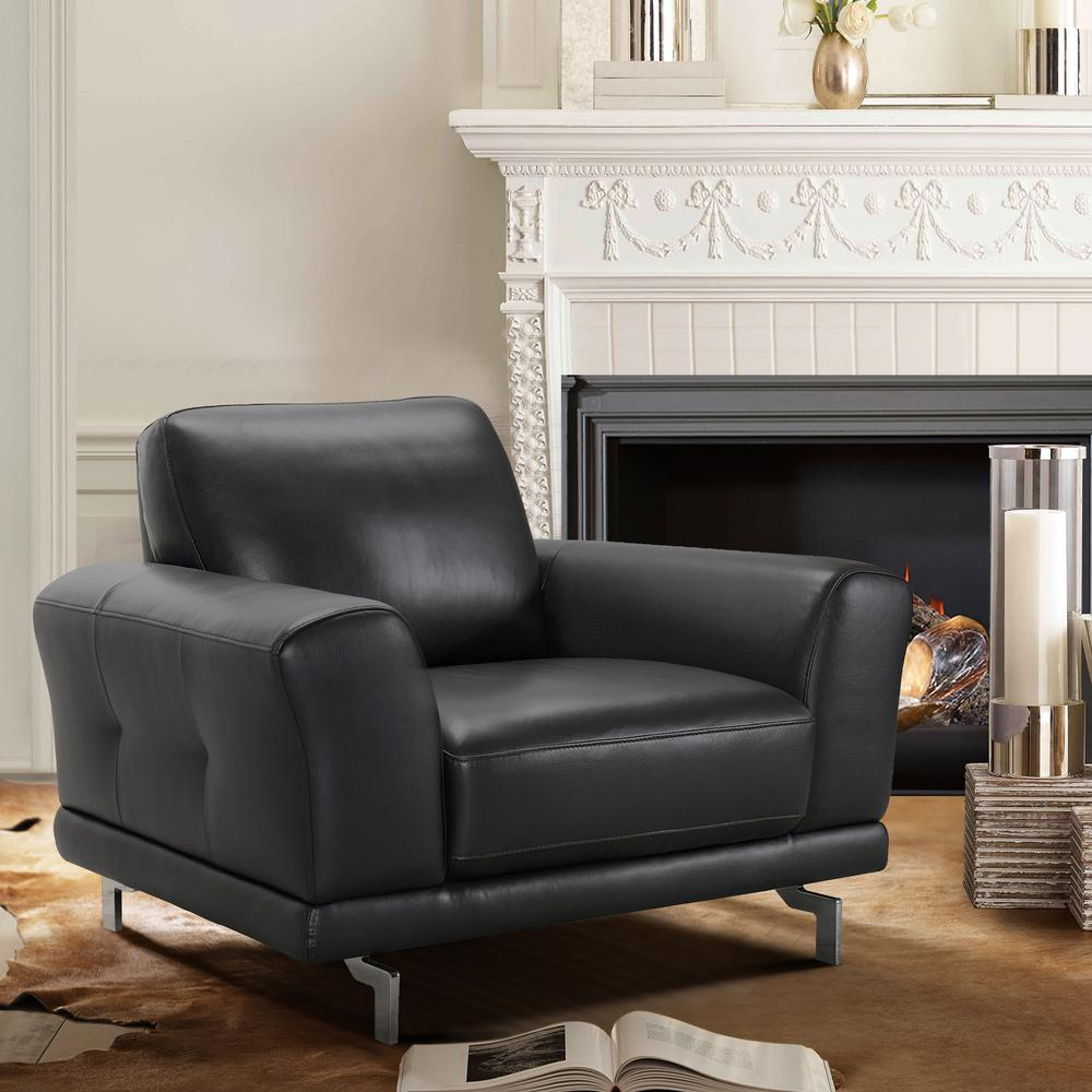 Contemporary Chair in Genuine Black Leather with Brushed Stainless Steel Legs. Picture 5