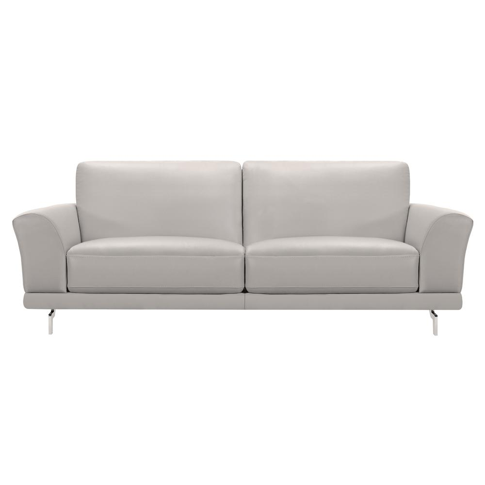 Contemporary Sofa in Genuine Dove Grey Leather with Brushed Stainless Steel Legs. Picture 1