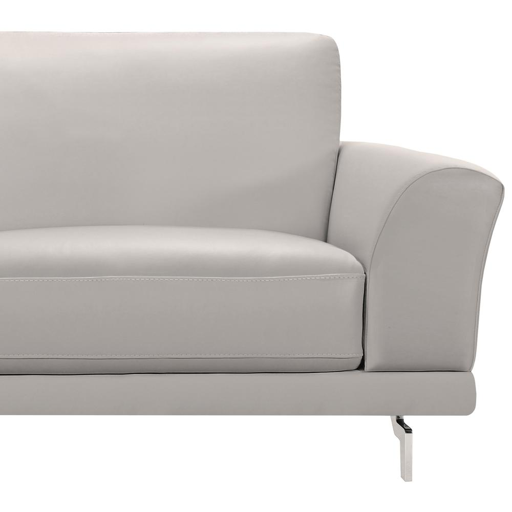 Contemporary Sofa in Genuine Dove Grey Leather with Brushed Stainless Steel Legs. Picture 3