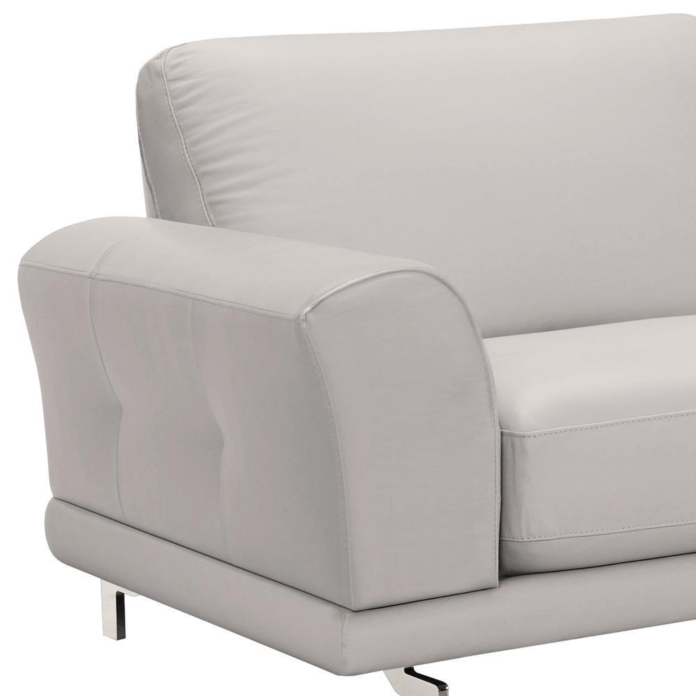 Contemporary Sofa in Genuine Dove Grey Leather with Brushed Stainless Steel Legs. Picture 4