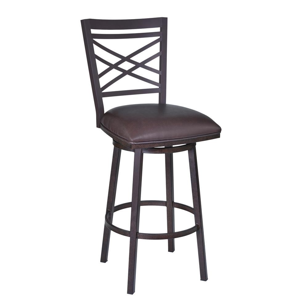 "Fargo 26"" Barstool in Auburn Bay finish with Brown Pu upholstery. Picture 1"