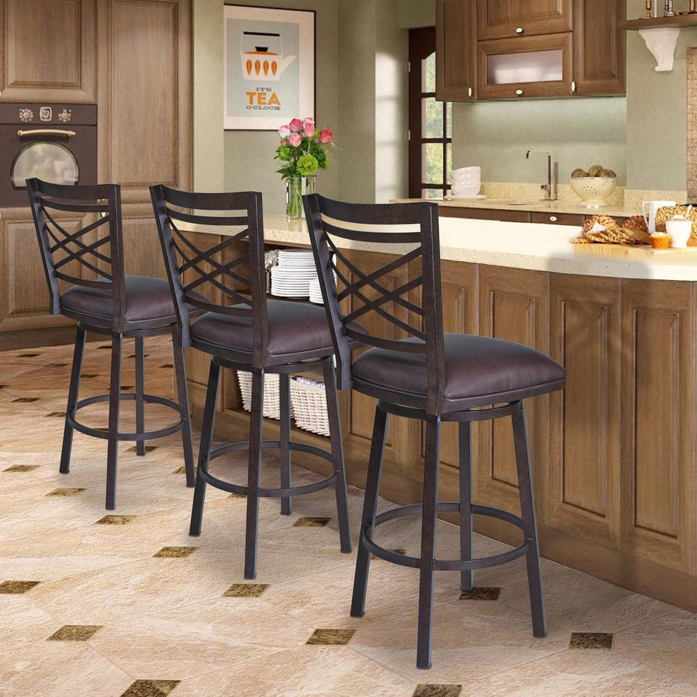 "Fargo 26"" Barstool in Auburn Bay finish with Brown Pu upholstery. Picture 5"