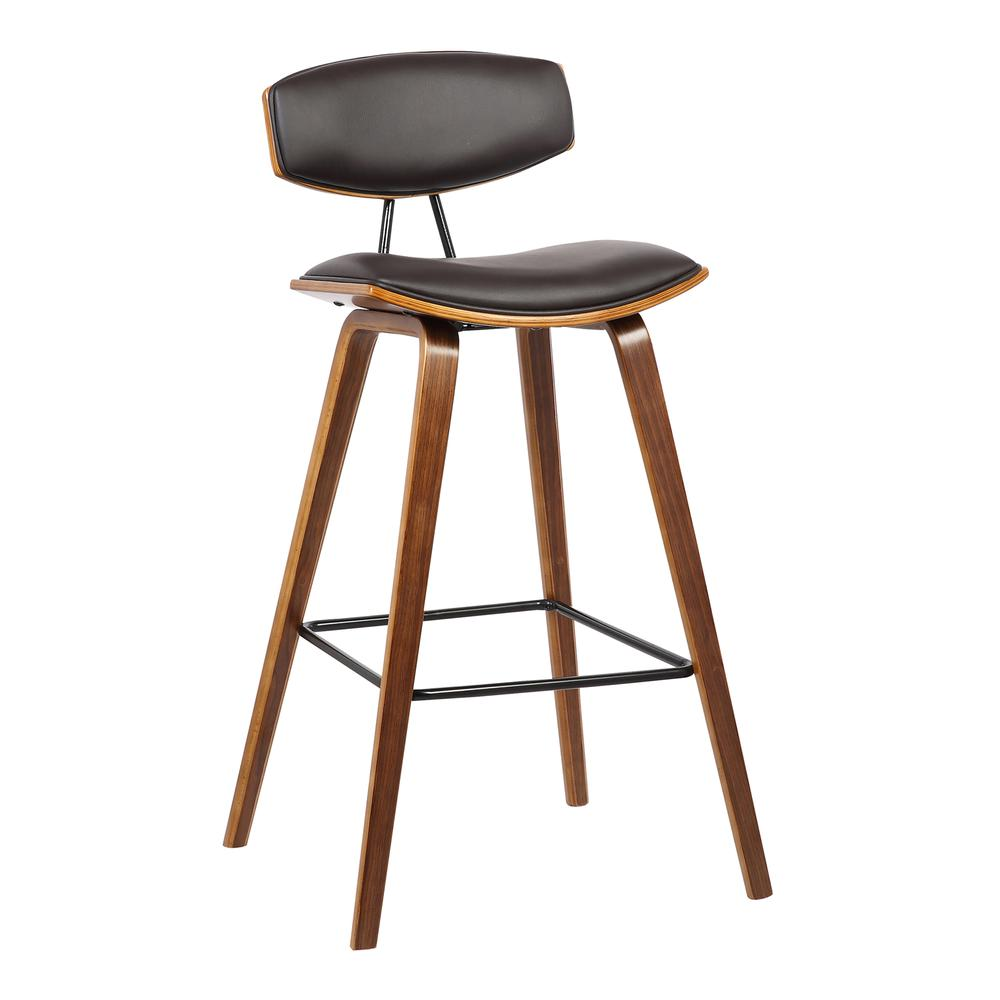 "30"" Mid-Century Bar Height Barstool in Brown Faux Leather with Walnut Wood. Picture 1"