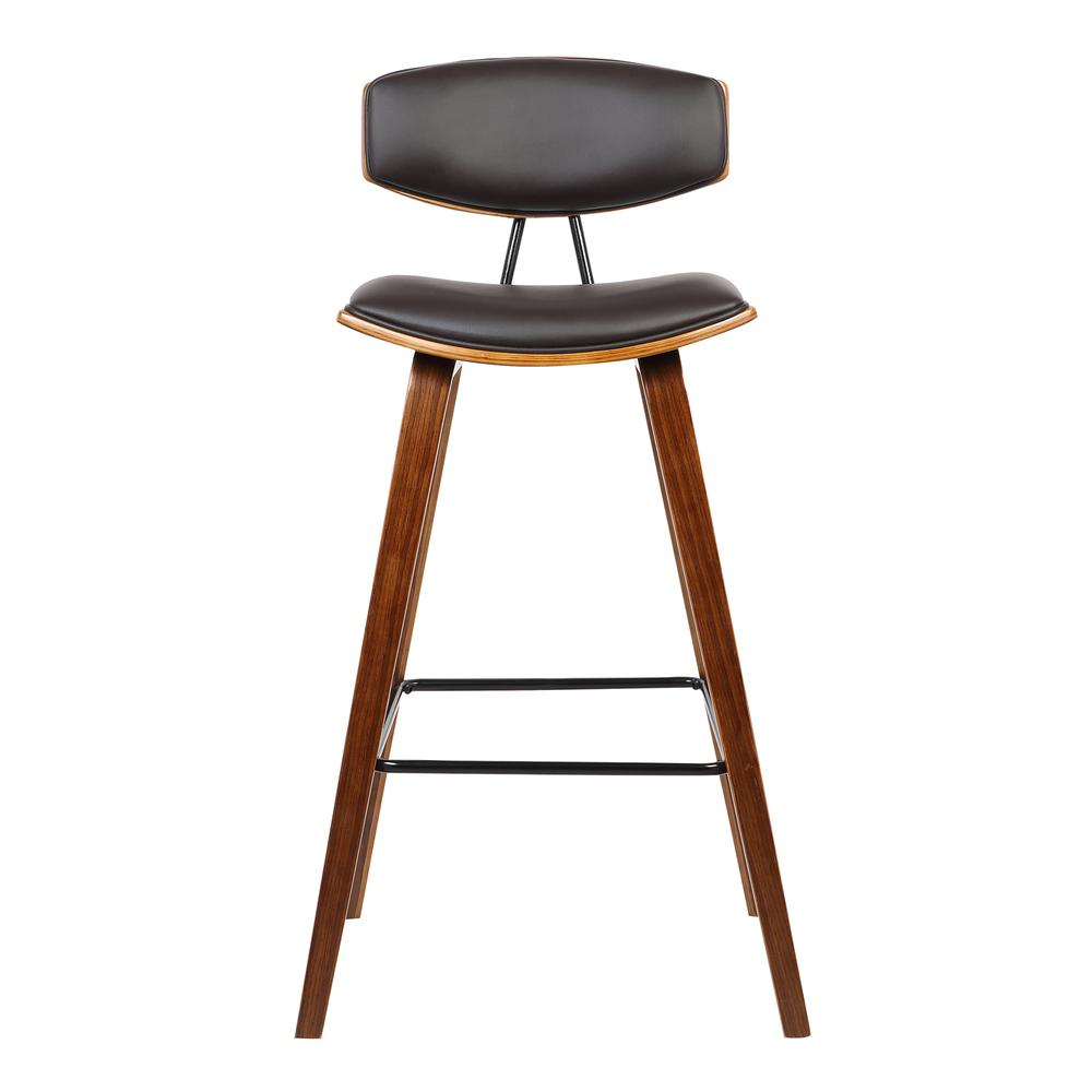 "30"" Mid-Century Bar Height Barstool in Brown Faux Leather with Walnut Wood. Picture 2"