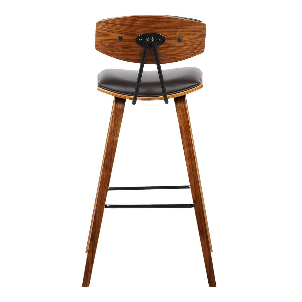 "30"" Mid-Century Bar Height Barstool in Brown Faux Leather with Walnut Wood. Picture 4"