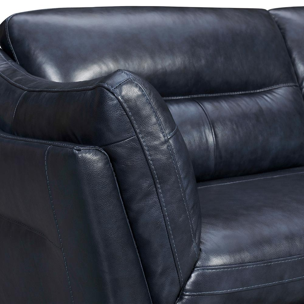 "Franz 87"" Modern Leather Sofa, Blue Midnight. Picture 4"