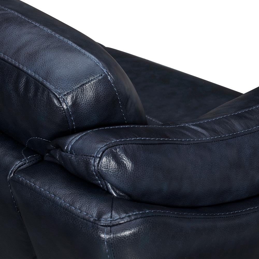 "Franz 87"" Modern Leather Sofa, Blue Midnight. Picture 5"