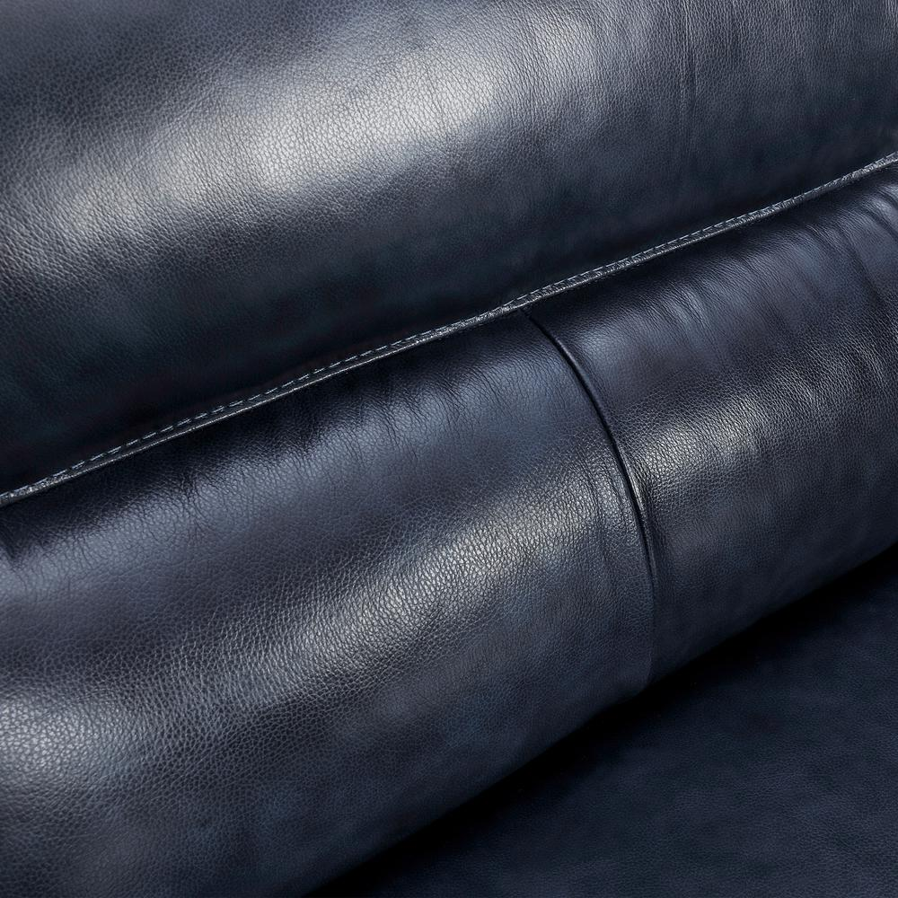"Franz 87"" Modern Leather Sofa, Blue Midnight. Picture 6"