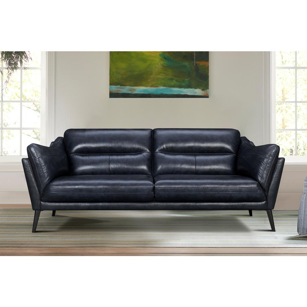 "Franz 87"" Modern Leather Sofa, Blue Midnight. Picture 2"