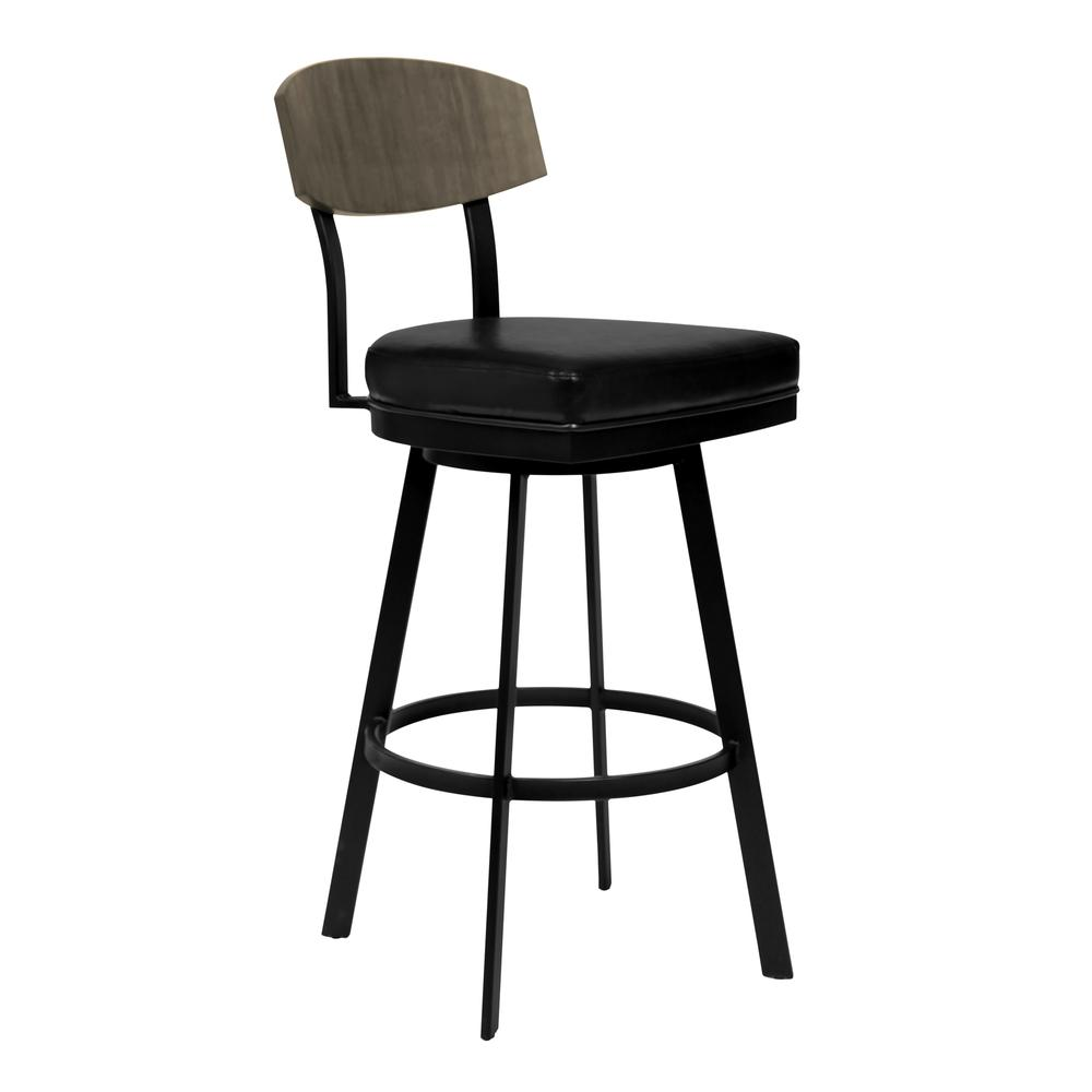 """26"""" Counter Height Barstool in Matte Black Finish with Black Faux Leather and Grey Walnut. Picture 1"""