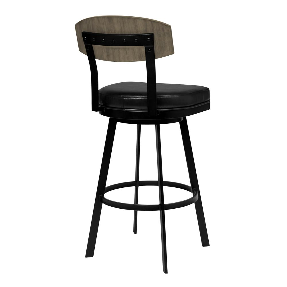 """26"""" Counter Height Barstool in Matte Black Finish with Black Faux Leather and Grey Walnut. Picture 2"""
