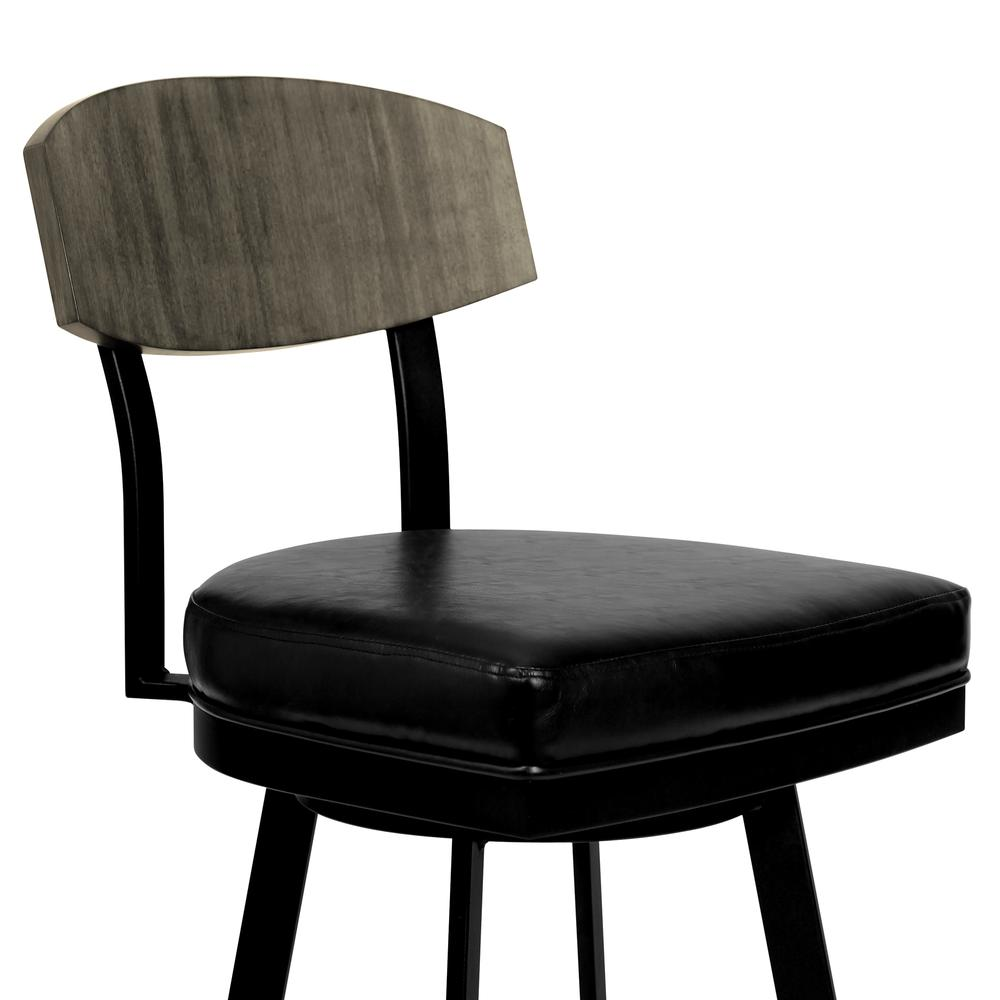 """26"""" Counter Height Barstool in Matte Black Finish with Black Faux Leather and Grey Walnut. Picture 3"""