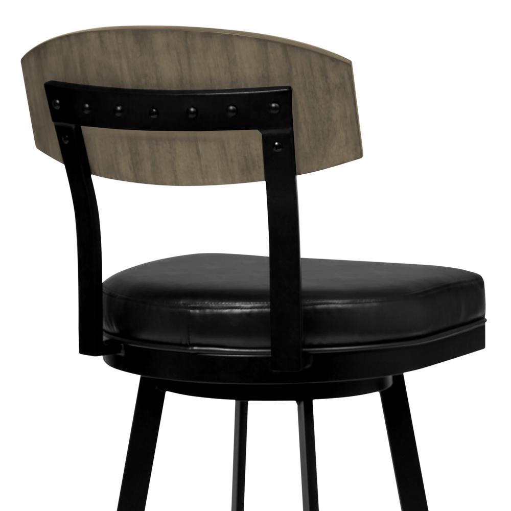 """26"""" Counter Height Barstool in Matte Black Finish with Black Faux Leather and Grey Walnut. Picture 4"""
