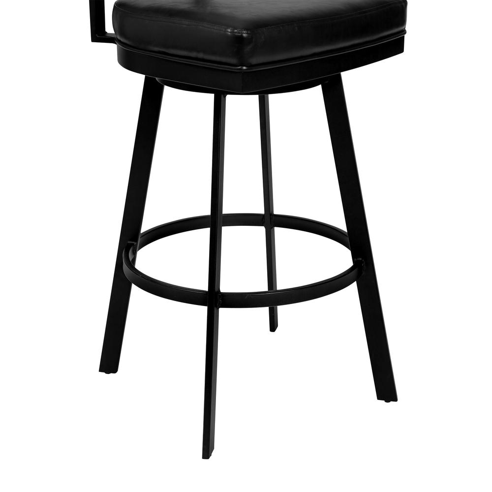 """26"""" Counter Height Barstool in Matte Black Finish with Black Faux Leather and Grey Walnut. Picture 5"""