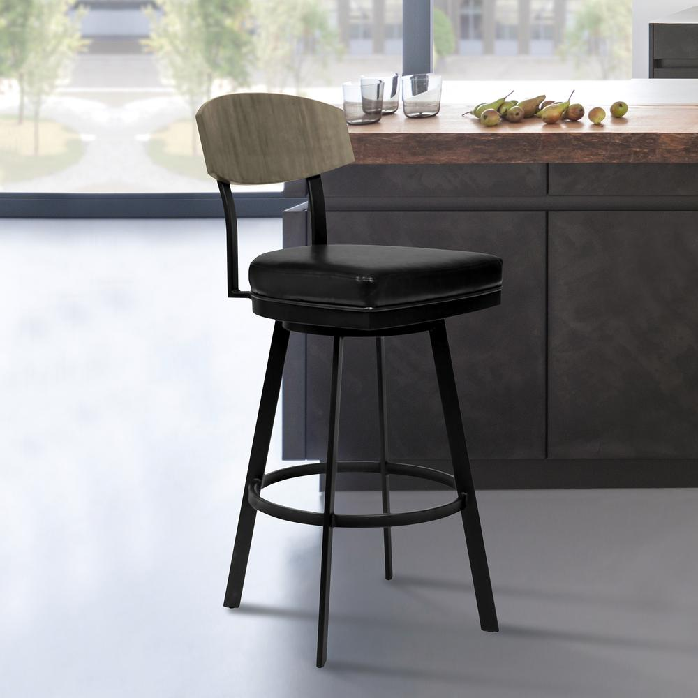 """26"""" Counter Height Barstool in Matte Black Finish with Black Faux Leather and Grey Walnut. Picture 6"""