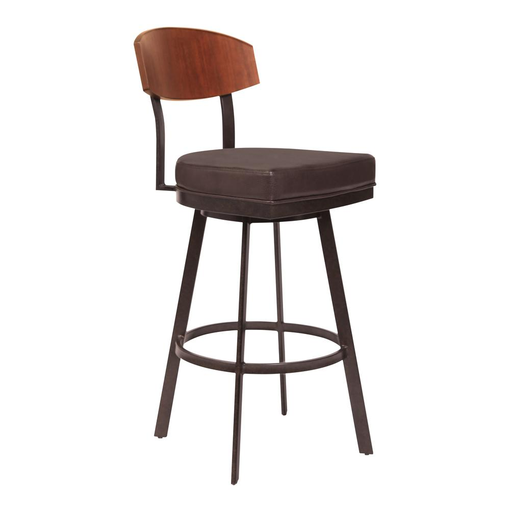 """30"""" Bar Height Barstool in Auburn Bay with Brown Faux Leather - Sedona Wood. Picture 1"""