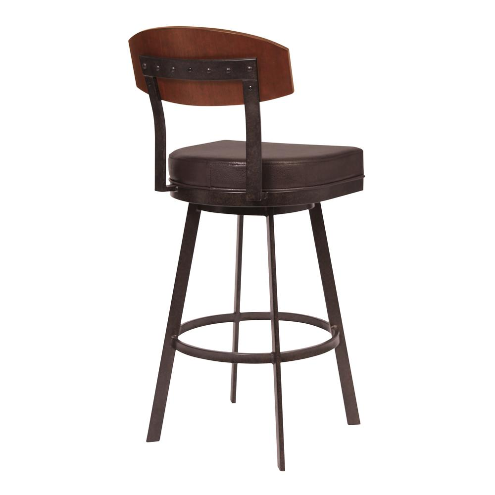 """30"""" Bar Height Barstool in Auburn Bay with Brown Faux Leather - Sedona Wood. Picture 2"""