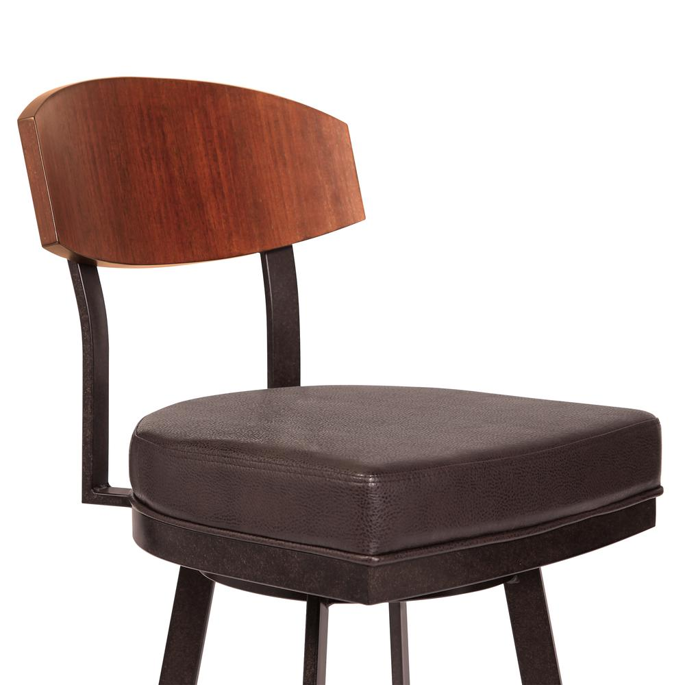 """30"""" Bar Height Barstool in Auburn Bay with Brown Faux Leather - Sedona Wood. Picture 3"""