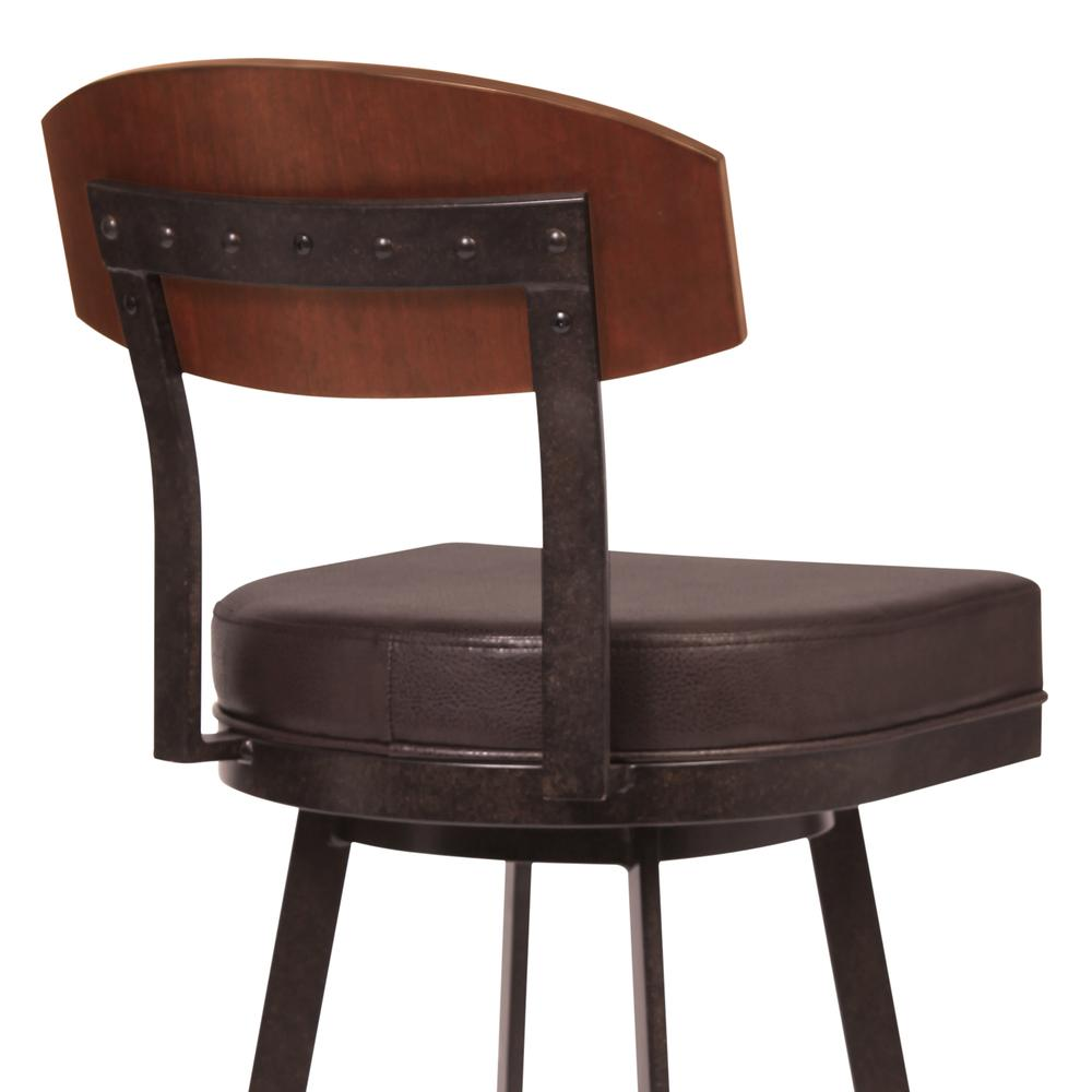 """30"""" Bar Height Barstool in Auburn Bay with Brown Faux Leather - Sedona Wood. Picture 4"""