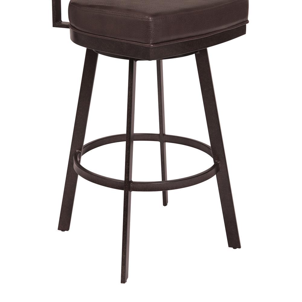 """30"""" Bar Height Barstool in Auburn Bay with Brown Faux Leather - Sedona Wood. Picture 5"""