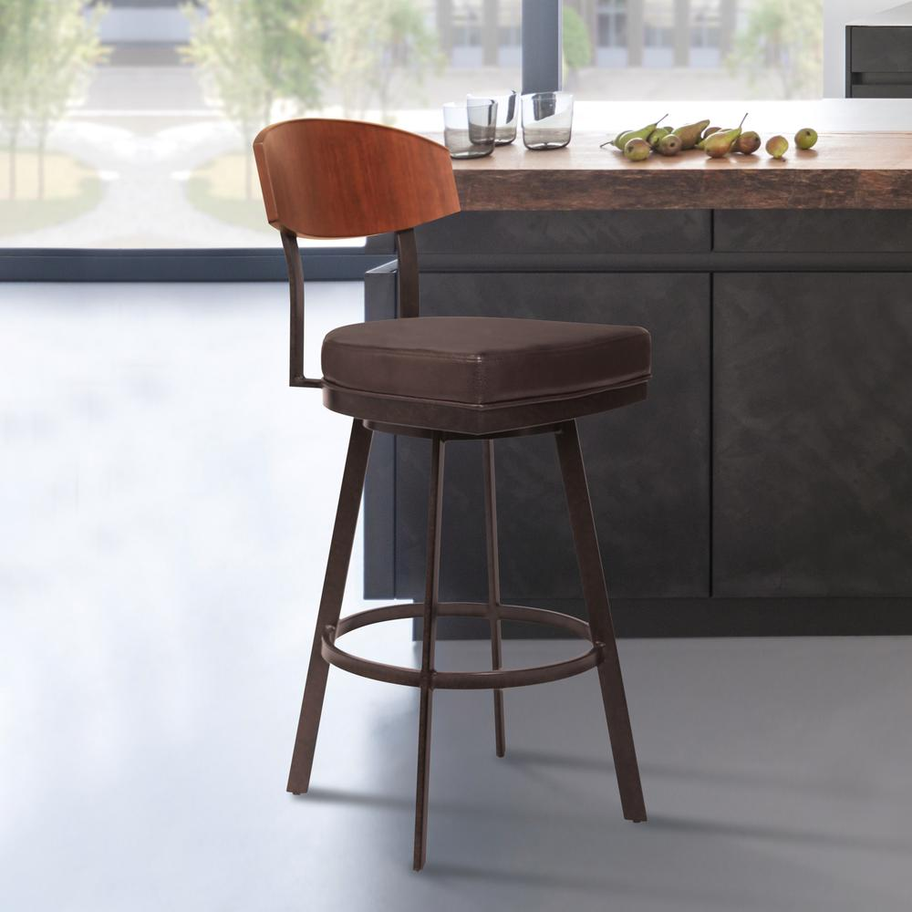 """30"""" Bar Height Barstool in Auburn Bay with Brown Faux Leather - Sedona Wood. Picture 6"""
