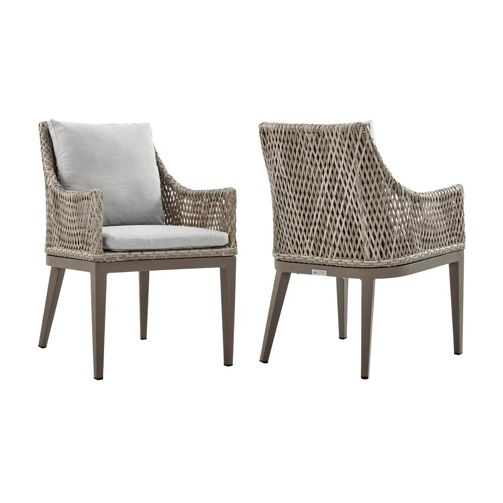 Grenada Outdoor Wicker and Aluminum Gray Dining Chair with Beige Cushions - Set of 2. Picture 1