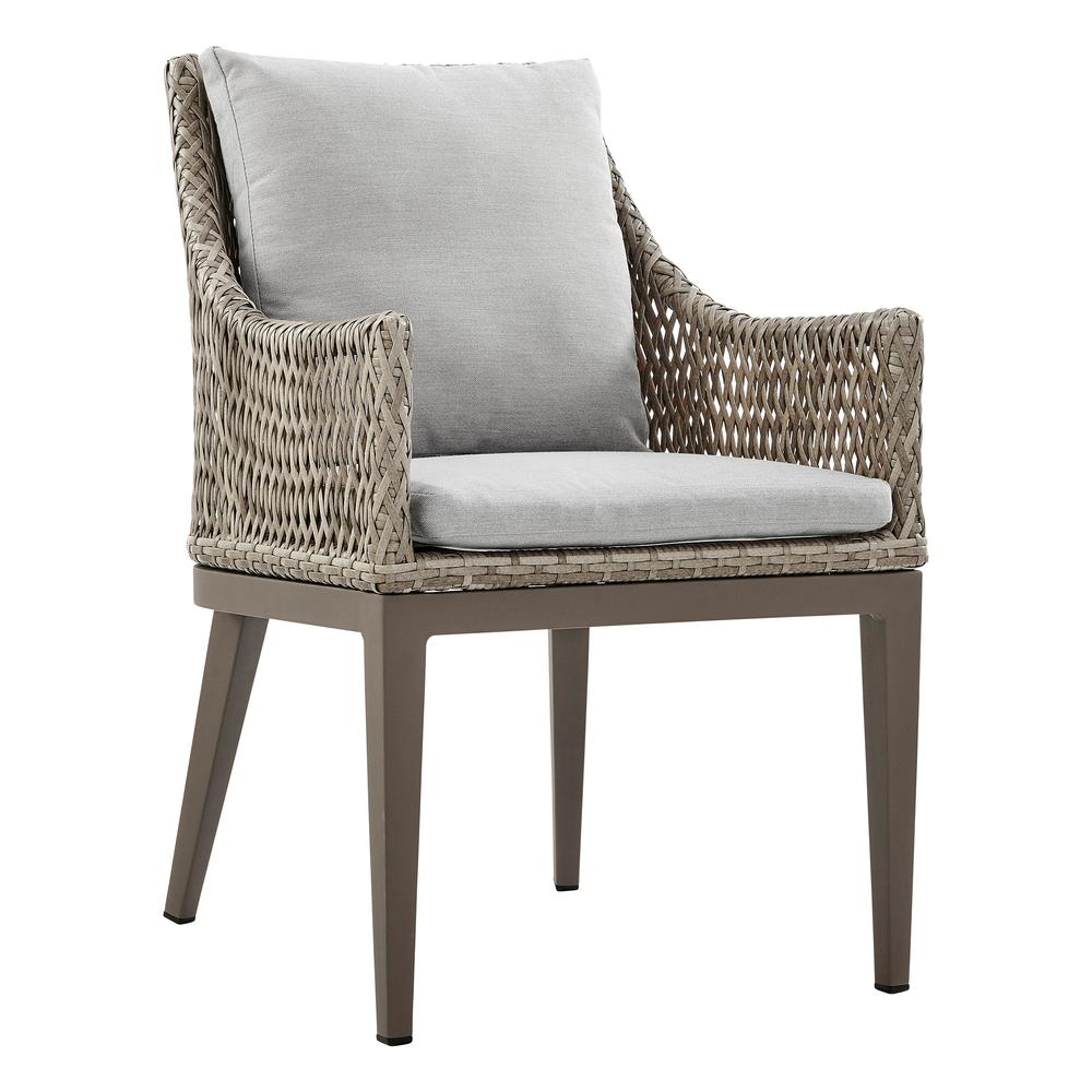 Grenada Outdoor Wicker and Aluminum Gray Dining Chair with Beige Cushions - Set of 2. Picture 2