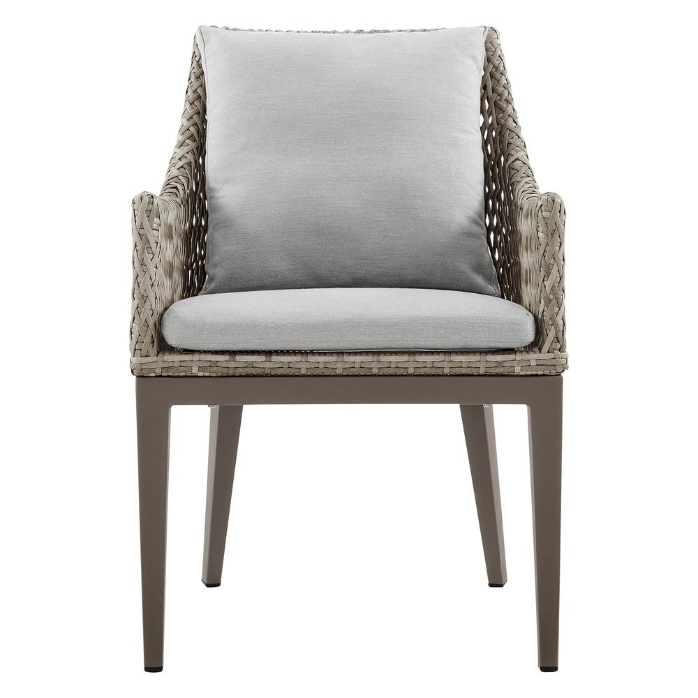 Grenada Outdoor Wicker and Aluminum Gray Dining Chair with Beige Cushions - Set of 2. Picture 3