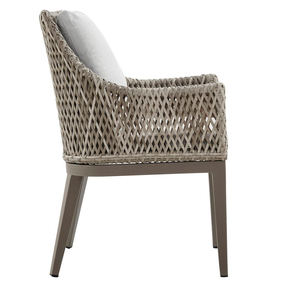Grenada Outdoor Wicker and Aluminum Gray Dining Chair with Beige Cushions - Set of 2. Picture 4