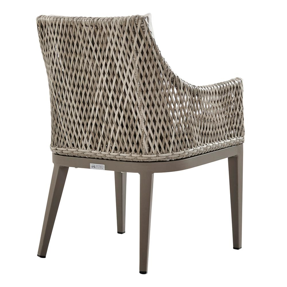 Grenada Outdoor Wicker and Aluminum Gray Dining Chair with Beige Cushions - Set of 2. Picture 5