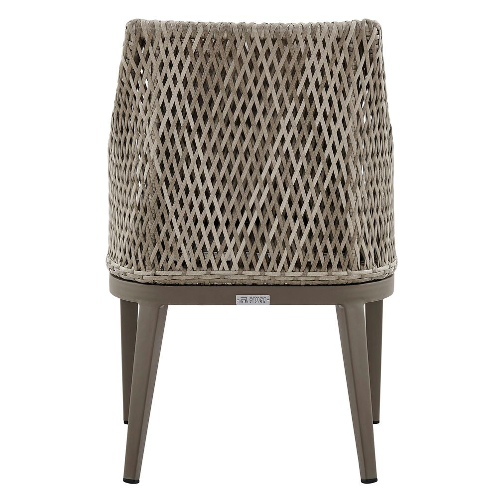 Grenada Outdoor Wicker and Aluminum Gray Dining Chair with Beige Cushions - Set of 2. Picture 6
