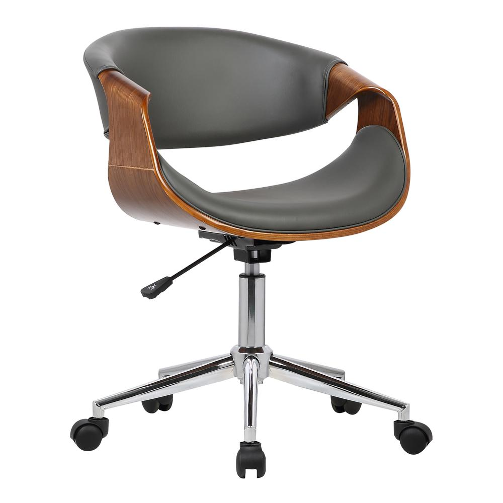 Mid-Century Office Chair in Chrome finish with Gray Faux Leather and Walnut Veneer Arms. Picture 1